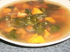 Sweet Potato Soup with Baby Spinach
