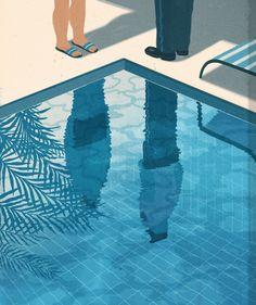 The New York Times book review http://www.emilianoponzi.com/portfolio/summer-house-with-swimming-pool . Emiliano Ponzi