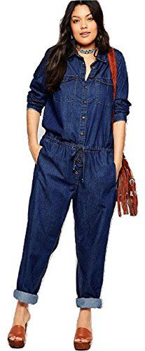 Fashion Bug Plus Size Denim Jumpsuit. Sizes 1X 2X 3X 4X 5X www.fashionbug.us #PlusSize #FashionBug #Jumpsuits