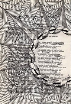 Not zentangle exactly, but this idea might appeal to those who love to tangle and doodle. Its done on a book page, bordering a section of text, and the highlighted words inside the main area make up a bit of verse. A creative idea. Book Page Art, Book Pages, Zentangle Patterns, Zentangles, Arte Pop Up, Found Poetry, Poesia Visual, Blackout Poetry, Altered Book Art