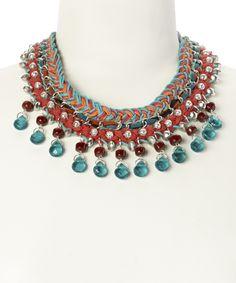 Look at this #zulilyfind! Orange & Teal Bead Bib Necklace by Turkish Delight #zulilyfinds