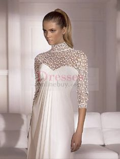 Gorgeous Taffeta Chiffon High Collar Empire Wedding Dresses