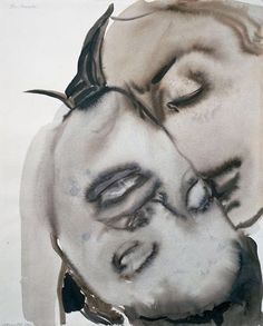 The art of Marlene Dumas, Passion, 1994. Gouache and ink on paper.