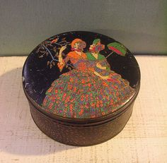 RARE Sovereign Toffee Antique Vintage Tin Box c1910s Ladies Hoop Skirts Colorful | eBay