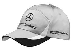 Men's baseball cap. Silver-coloured. 100% polyester. Black sandwich peak detail.  White polyester and black mesh details on peak. Metal clasp, embossed with logo.  Mercedes AMG DTM Team logo embroidered on side.