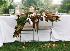 Photography : Benjamin Lowry Photography | Bride Styling : Lisa Sullivan Events | Venue : Topiary Garden | Flowers : Rose Bredl Read More on SMP: http://www.stylemepretty.com/2013/10/16/copper-inspired-wedding-shoot/