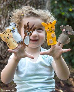 Felt animal finger puppets