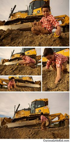 Little Boy, Dirt & Trucks #preschoolpicture #pictureideas from www.CuriousLittleKid.com