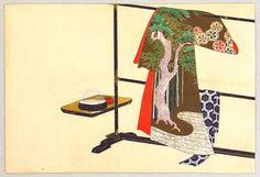 神坂雪佳: Kimono on a Rack - Momo Chigusa - Artelino