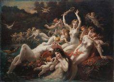 """Adjugé 8 000 euros par Boscher à Cherbourg le 14 avril 2014 -  LA LYRE Adolphe (1848/1933). """"Nymphes et amour"""". Huile sur toile signée en bas à droite. 180 x 250."""