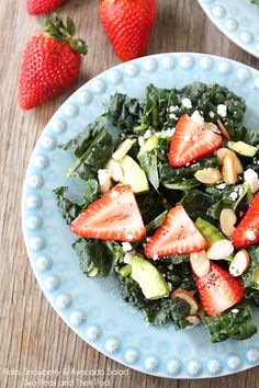 Kale, Strawberry & Avocado Salad with Lemon Poppy Seed Dressing-recipe on www.twopeasandtheirpod.com