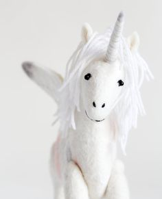 Unicorn  Art Toy. Felted Flying Unicorn Handmade by TwoSadDonkeys