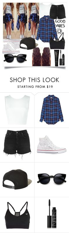 """""""Plaid!"""" by mint-green-lover ❤ liked on Polyvore featuring A.L.C., Equipment, Topshop, Converse, Brixton, NIKE and NARS Cosmetics"""