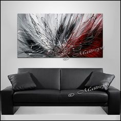 Abstract Art Red black painting Original acrylic by largeartwork
