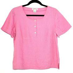 Orvis Womens Top Linen Short Sleeve Button Placket Solid Pink Popover Blouse 10  #Orvis #Blouse #Versatile