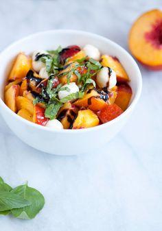 Nectarine, Basil, Mozzarella salad.