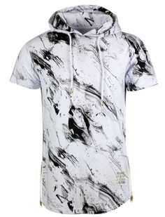 S11708 - Marbled washing elongated short sleeve hoody with side zipper