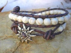White Magnesite Bohemian Beaded Leather Wrap by cleverbirdboutique, $28.00