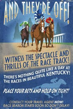 Kentucky - Horse Racing Vintage Sign - Lantern Press Poster