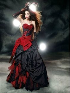 Red and Black Gothic Wedding Dress                              …