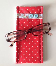 Cath Kidston Red Mini Dot Fabric Glasses Case by sewmoira on Etsy, £4.00