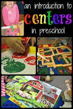 What are Centers in Preschool and Why are They Important? An Introduction to Centers in Preschool -- Centers explained, the importance of centers in early childhood classroom, and examples of centers Preschool Rooms, Preschool Centers, Preschool Curriculum, Preschool Lessons, Preschool Crafts, Preschool Checklist, Classroom Checklist, Preschool Ideas, Daycare Rooms
