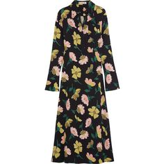 Marni Floral-print crepe shirt dress (37 660 UAH) via Polyvore featuring dresses, marni, платье, green, flower print dress, floral shirt dress, green shirt dress, shirt dress и oversized dress