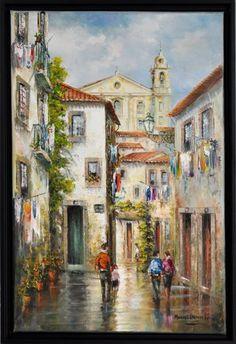 """Lote 1125 - MANUEL CARDOSO LIMA (n.1949) - Original - Pintura a óleo sobre tela, assinado, motivo """"Alfama - Lisboa"""", com 60x40 cm (moldura com 64x44 cm, verso com CV do artista) - Price Estimate: € - $0"""