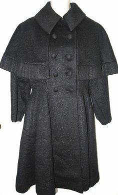 1940's Lilli Ann Black Wool Double Breasted Princess Coat w Capelet