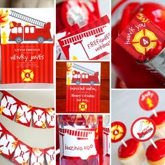 Firefighter Birthday Party Theme - Full Printable Collection - Invitation and Decor for little Fireman Party - Fire Engine and Ladder. $32.00, via Etsy.