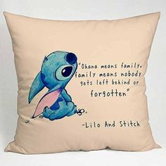 Disney lilo and stitch quote movie pillow case size two sides : disney stitch pillow Funny Throw Pillows, Old Pillows, Cute Pillows, Disney Pillows, Disney Bedding, Disney Home, Disney Diy, Lilo And Stitch Quotes, Disney Bedrooms