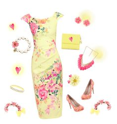 """""""pink & yellow delight"""" by valorierose on Polyvore featuring Betsey Johnson, Jolie Moi, Kenneth Jay Lane, Miss Selfridge, Nicholas Kirkwood, Versace and Forever 21"""