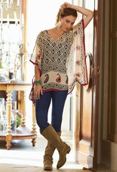 Comfortable Clothing For Women, Womens Fashions Online - Soft Surroundings. I like the drapy feel of this top. Fall Outfits, Casual Outfits, Cute Outfits, Boho Fashion, Fashion Outfits, Womens Fashion, Fashion News, Diy Clothes, Clothes For Women
