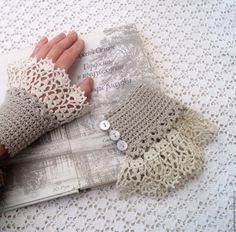 Купить Манжеты Аромат Полыни. Вязаные. - серый, манжеты съемные, манжеты вязаные, манжеты кружевные Crochet Art, Crochet Motif, Crochet Designs, Crochet Doilies, Crochet Patterns, Crochet Borders, Crochet Collar, Crochet Gloves, Crochet Wrist Warmers