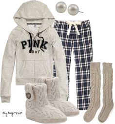 """Plaid Pjs"" by taytay-268 ❤ liked on Polyvore"