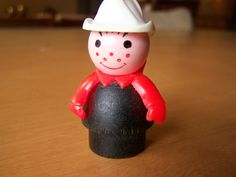 Vintage Fisher Price Little People figure - fireman - red arms and white hat by RetrowareExchange on Etsy