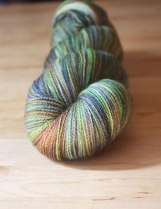 Merino silk hand dyed laceweight yarn / Green Copper Blue / by phydeauxdesigns