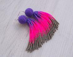 4 inches Ombre purple, hot pink and grey Beaded tassel earrings - Statement Earrings - Long Dangle earrings - Fringe beadwork earrings