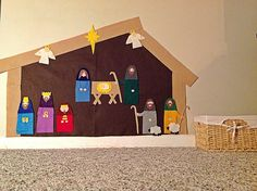 DIY Wall Nativity - felt figures stick well to flannel