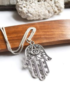 Handmade Silver plated Long chain with hamsa hand One size Hamsa Jewelry, Hamsa Necklace, Evil Eye Jewelry, Eye Necklace, Jewelry Art, Earrings, Christmas Gifts For Sister, Sister Gifts, Christmas Ideas