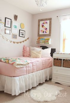 Beddy's Bedding - great customer picture with vintage pink and white!  Love this little girl's room