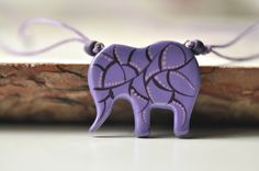Handpainted pendant elephant handpainted violet by MagicTwirl