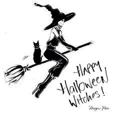 Megan Hess. Halloween illustration on Artluxe Designs. #artluxedesigns