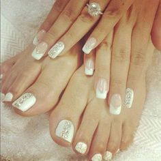 Gold and White Wedding. Manicure, Pedicure, Nails. Love natural looking nails!