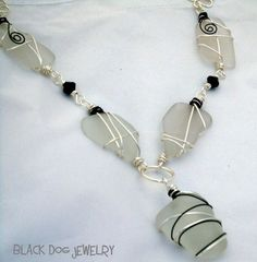 Black and White Frosted Sea Glass Necklace