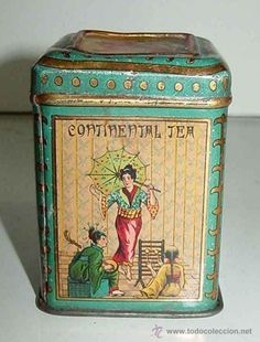 'Continental Tea' vintage French tea tin decorated with scene of Japanese geisha and musician, c. 1920s, France
