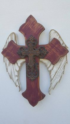 Barn Red Angel Wing / Fleur-De-Lis Wall Cross Hanging Cross Decor Distressed Pallet/Cedar Wood Cast Iron Repurposed Wood Crosses GREAT GIFT