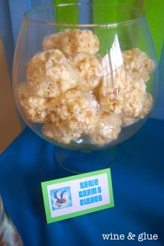Sonic Boom's Clouds - pin points to great blog post.  Here is recipe: http://allrecipes.com/recipe/best-ever-popcorn-balls/