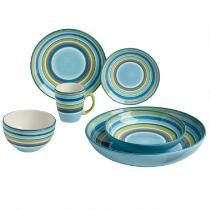 Tessa Blue Striped Earthenware Dinnerware  sc 1 st  Pinterest & Bistro Brights Yellow Dinnerware Collection Sets of 4 | Ideas for ...