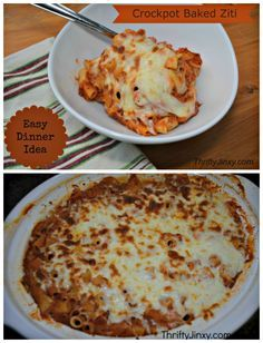 This no-boil Crockpot Baked Ziti Recipe is easy to throw together in the slow cooker in the morning to have a hot dinner waiting when you return in the evening.